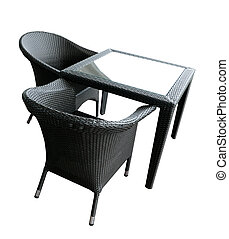 Outdoor cafe furnitures - two chairs and coffee table