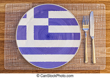 Dinner plate for Greece - Dinner plate with the flag of...