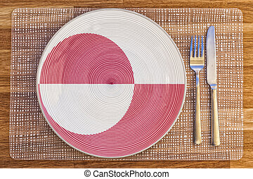 Dinner plate for Greenland - Dinner plate with the flag of...