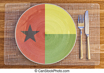 Dinner plate for Guinea Bissau - Dinner plate with the flag...