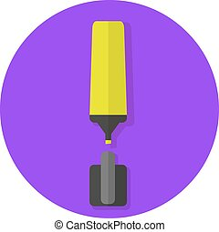 Flat yellow highlighter icon in purple circle