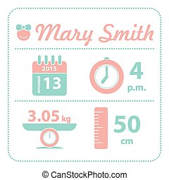 Baby girl announcement birth card