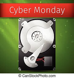 Cyber Monday Sale poster, opened hard drive disk Vector...