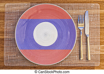 Dinner plate for Laos - Dinner plate with the flag of Laos...