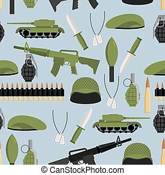 Army seamless pattern. Arms background. Tanks and hand grenade. Automatic and green beret. Soldiers texture. Ornament of military: soldiers helmet and badge. Bandolier and knife.