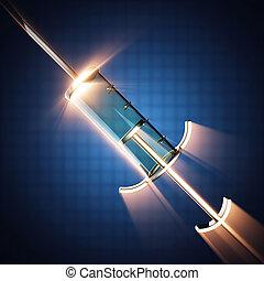 Glass syringe on blue background