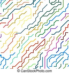 Colorful Micro Chip Lines Seamless Pattern. Vector
