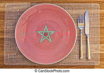 Dinner plate for Morocco - Dinner plate with the flag of...