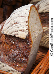 Traditional baked bread - Closeup of traditional baked bread...