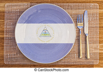 Dinner plate for Nicaragua - Dinner plate with the flag of...