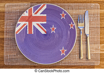 Dinner plate for New Zealand - Dinner plate with the flag of...