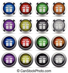 Gift button set - Set of gift glossy web buttons. Arranged...