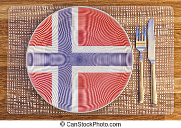Dinner plate for Norway - Dinner plate with the flag of...
