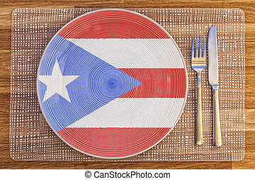 Dinner plate for Puerto Rico - Dinner plate with the flag of...