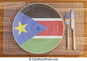 Dinner plate for South Sudan - Dinner plate with the flag of...