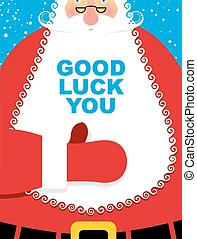 Santa Claus good luck. Bearded Christmas character showing...