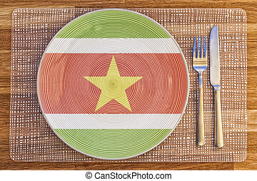 Dinner plate for Suriname - Dinner plate with the flag of...