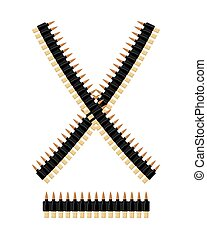 Bandolier with bullets Ammunition belt Tape cartridges for...