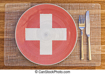 Dinner plate for Switzerland - Dinner plate with the flag of...