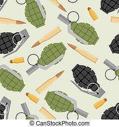 Military ammo seamless pattern. Grenade and Ammo military...