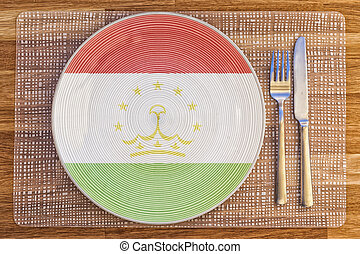 Dinner plate for Tajikistan - Dinner plate with the flag of...