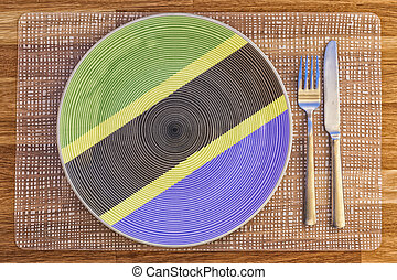 Dinner plate for Tanzania - Dinner plate with the flag of...