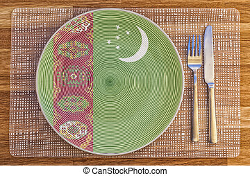Dinner plate for Turkmenistan - Dinner plate with the flag...