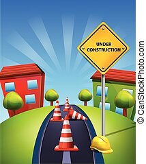 Under Construction Illustration Traffic Cones and Yellow Sign and Hard Cap on blue landscape