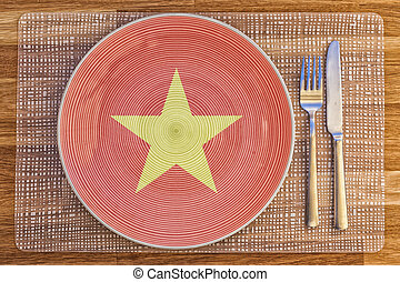 Dinner plate for Vietnam - Dinner plate with the flag of...
