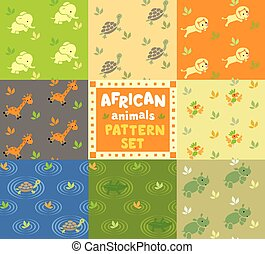 Seamless pattern set with funny african animals - Set of...