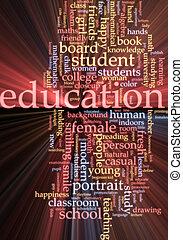 Education word cloud glowing