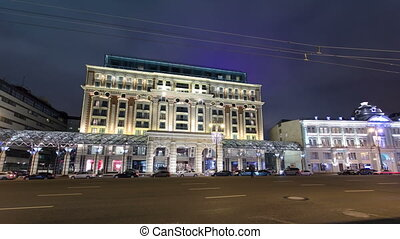 The head of Tverskaya street of Moscow timelapse hyperlapse....