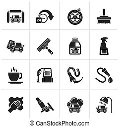 car wash objects and icons