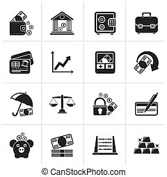 Business, finance and bank icons - Black Business, finance...