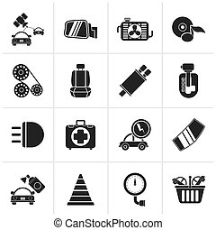 Car parts and services icons - Black Car parts and services...