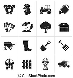 Agriculture and farming icons - Black Agriculture and...