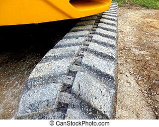 Caterpillar tracks - Close up of the caterpillar tracks of...