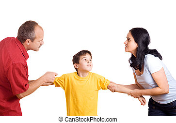 Domestic conflict - Hands of parents fighting over their son...