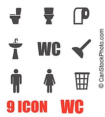 Vector grey toilet icon set Toilet Icon Object, Toilet Icon...