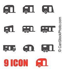 Vector grey trailer icon set