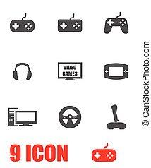 Vector grey video games icon set