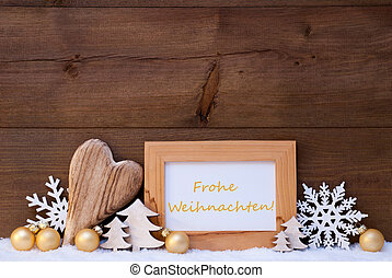 Golden Decoration, Snow, Frohe Weihnachten Mean Merry...