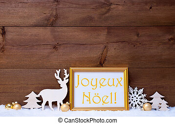 Card, Snow, Joyeux Noel Mean Merry Christmas - Christmas...