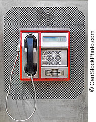 Payphone - Public telephone with metal keypad dial