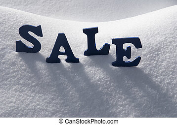 Blue Word Sale On Snow - Blue Letters Building English Text...