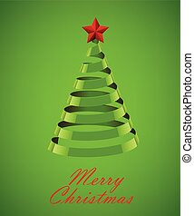 Abstract Green Ribbon Christmas Tree On Green Background....