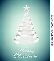 Abstract Silver Ribbon Christmas Tree On Blue Background...