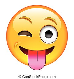 Eyewink with Tongue Emoticon. Isolated Vector Illustration...