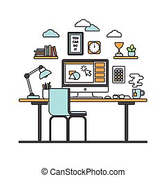 workspace line art - Thin line flat design of modern...
