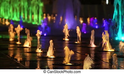 colorful fountain at night close-up